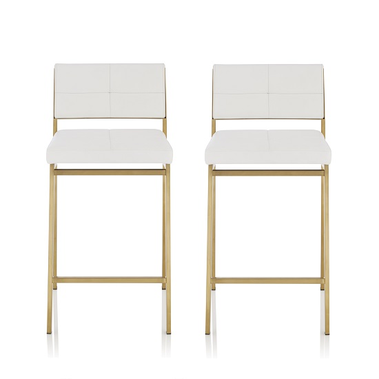 Luciani Bar Stool In White Faux Leather With Gold Legs In A Pair
