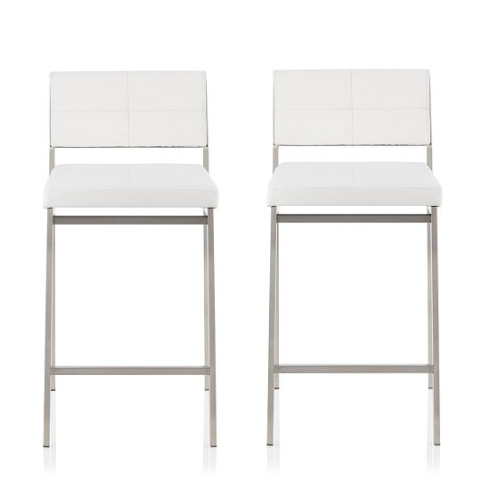 Luciani Modern Bar Stool In White Faux Leather In A Pair
