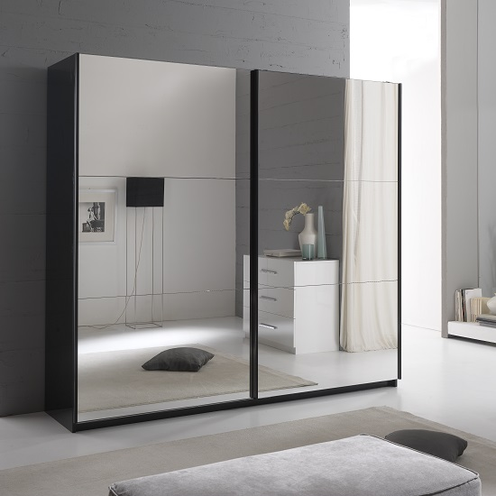 Luciano Sliding Wardrobe Large In Black Gloss And 2 Mirror Doors