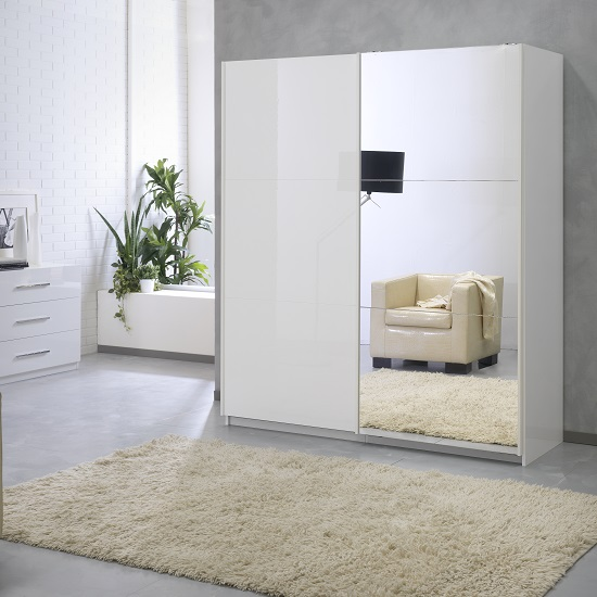 Luciano Mirrored Sliding Wardrobe Medium In White High Gloss
