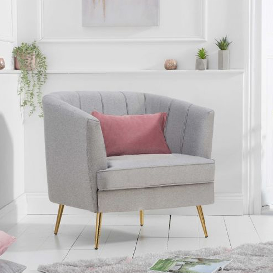 Lucite Linen Fabric Upholstered Armchair In Grey