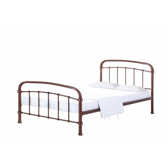 Luckas Contemporary Metal Single Bed In Copper