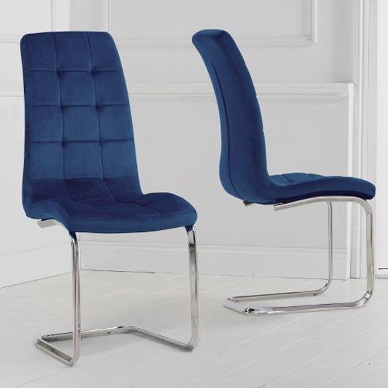 Lucius Hoop Leg Blue Velvet Dining Chairs In A Pair