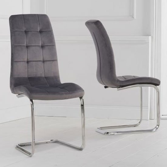 Lucy Hoop Leg Grey Velvet Dining Chairs In A Pair