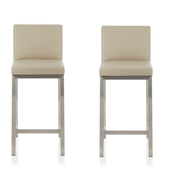 Product photograph showing Ludlow Bar Stool In Beige Faux Leather In A Pair