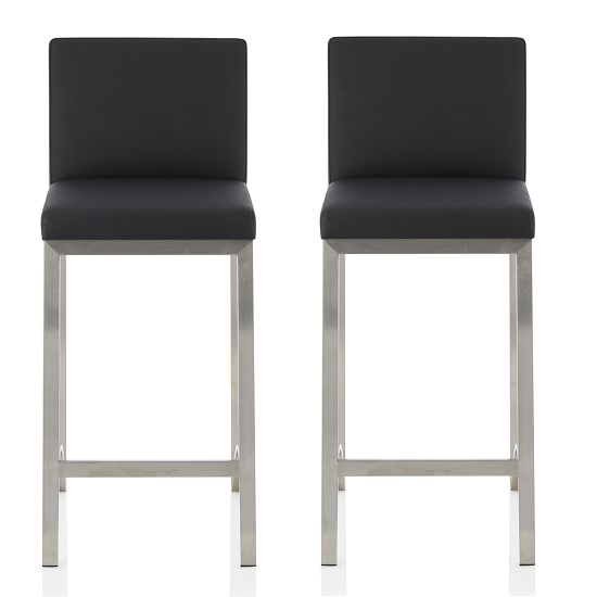 Ludlow Bar Stool In Black Faux Leather In A Pair