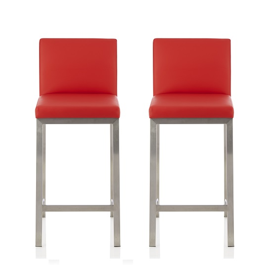 Ludlow Bar Stool In Red Faux Leather In A Pair