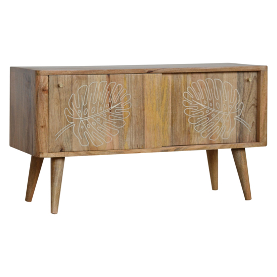 View Lufkin wooden leaf embossed tv sideboard in oak ish