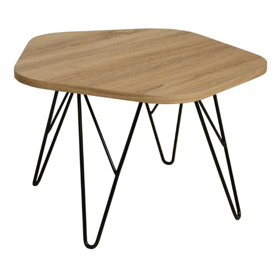 Product photograph showing Lugano Natural Wooden Coffee Table With Black Metal Legs