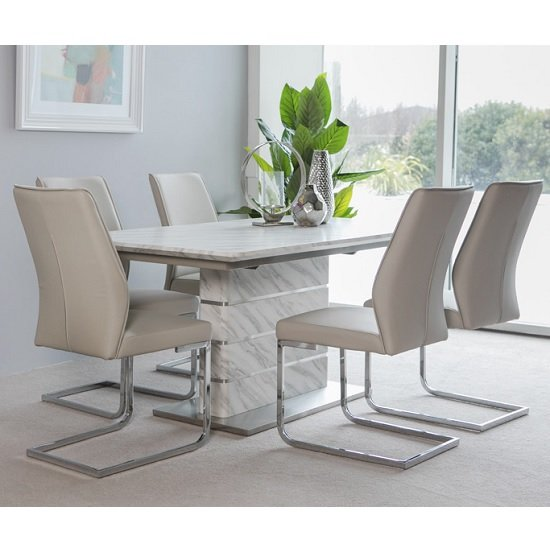 Luisa Extendable Dining Table In Marble Effect 6 Presto Chairs