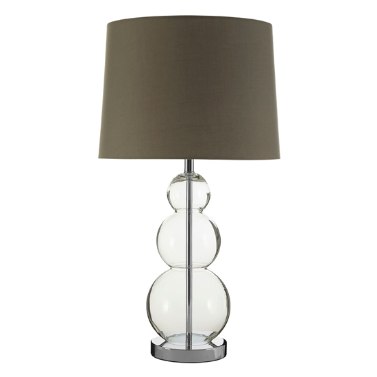 Lukano Grey Fabric Shade Table Lamp With Glass Orbs Base