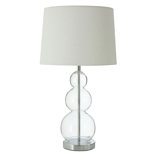 Lukano White Fabric Shade Table Lamp With Glass Orbs Base