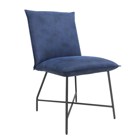 Lukas Fabric Upholstered Dining Chair In Indigo Blue