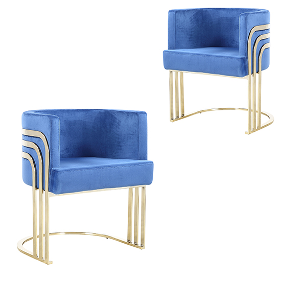 Lula Blue Velvet Dining Chairs In Pair With Gold Legs