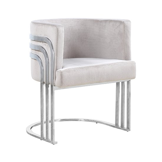 Lula Brown Velvet Dining Chair With Silver Stainless Steel Legs