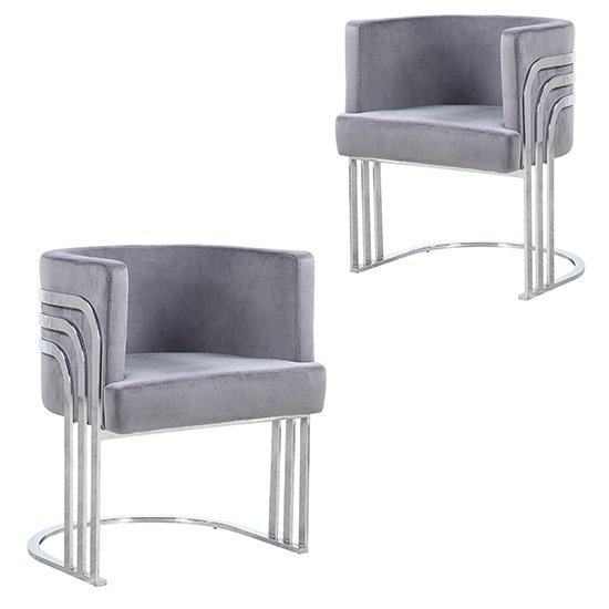 Lula Grey Velvet Dining Chairs In Pair With Silver Legs