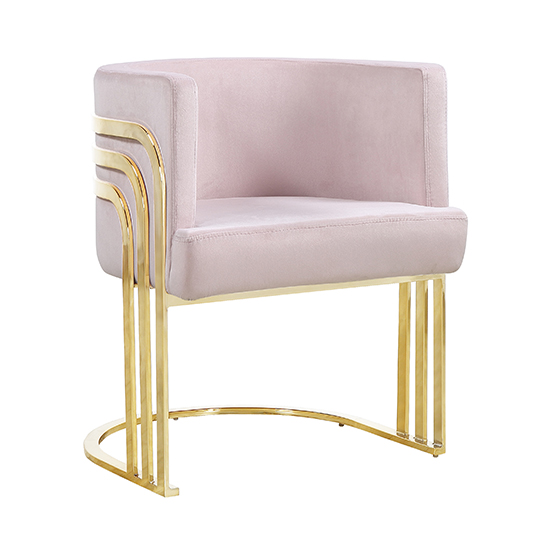 Lula Pink Velvet Dining Chair With Gold Stainless Steel Legs