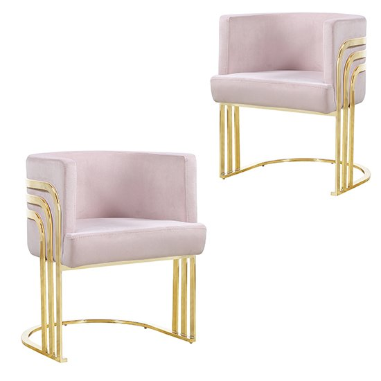 Lula Pink Velvet Dining Chairs In Pair With Gold Legs