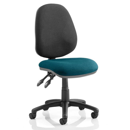 Product photograph showing Luna Ii Black Back Office Chair In Maringa Teal