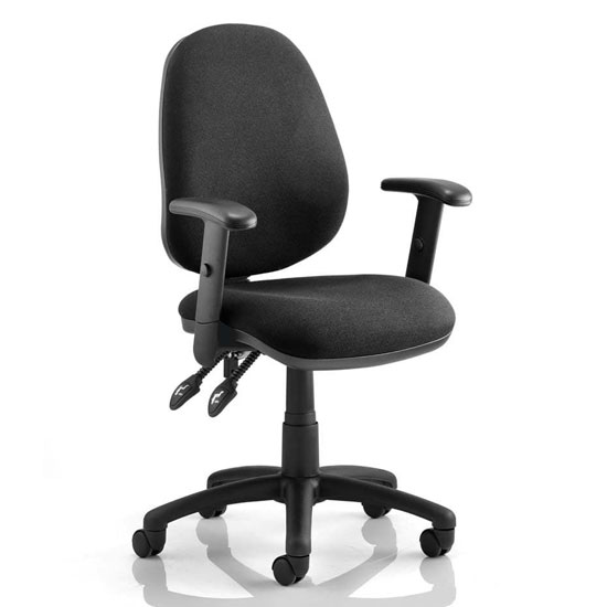 Luna II Office Chair In Black With Adjustable Arms