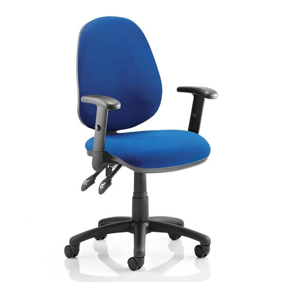 Luna II Office Chair In Blue With Adjustable Arms