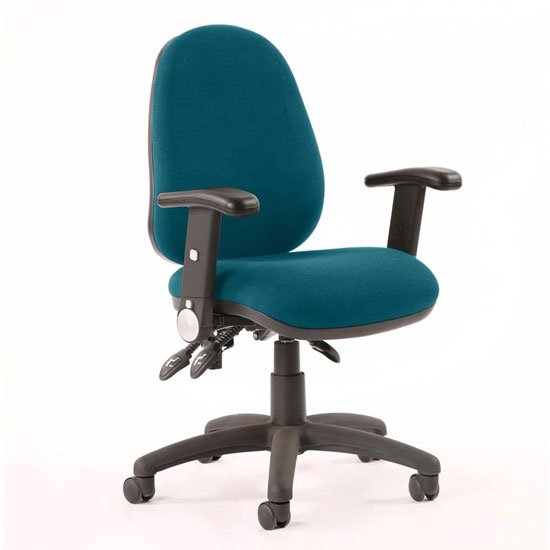Luna II Office Chair In Maringa Teal With Folding Arms