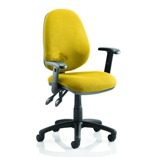 Luna II Office Chair In Senna Yellow With Arms