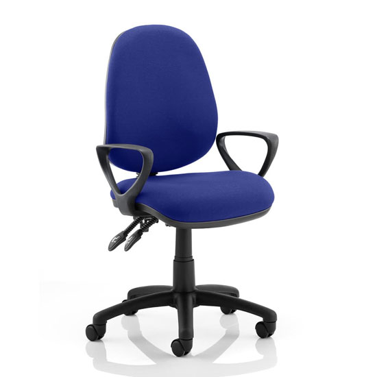 Product photograph showing Luna Ii Office Chair In Stevia Blue With Loop Arms