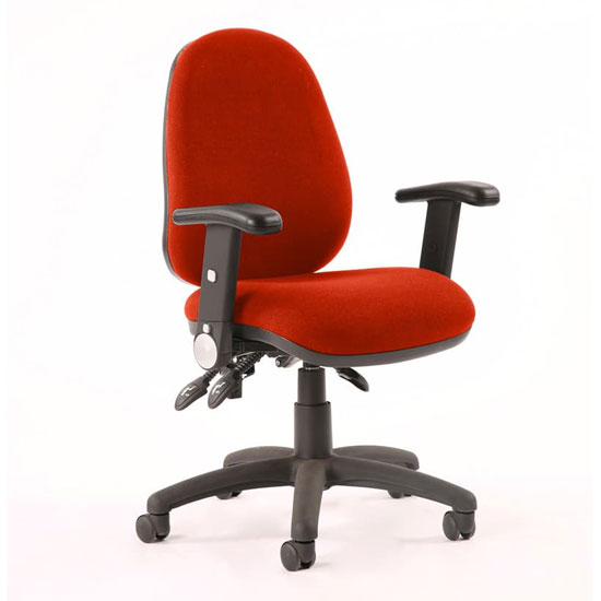 Luna II Office Chair In Tabasco Red With Folding Arms