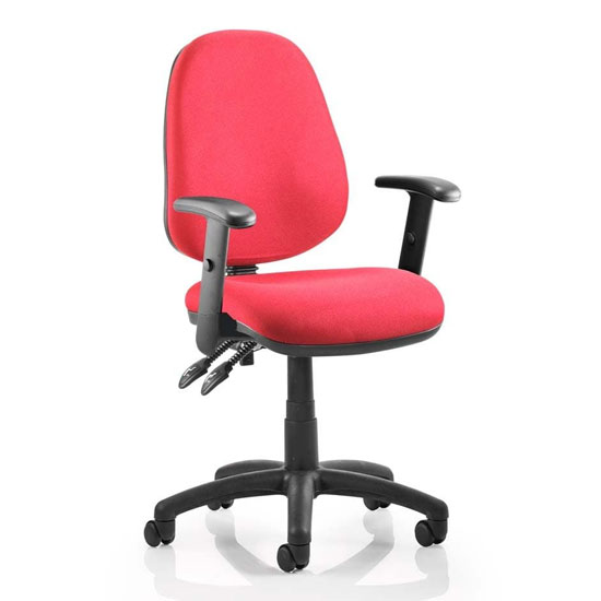 Luna II Office Chair In Wine With Adjustable Arms_1