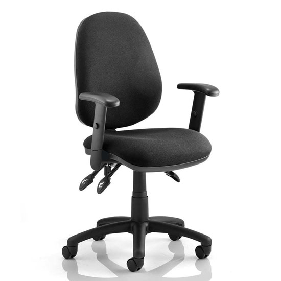 Luna III Office Chair In Black With Adjustable Arms