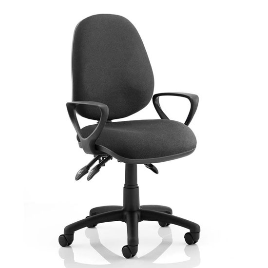 Luna III Office Chair In Black With Loop Arms