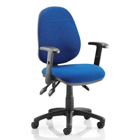 Luna III Office Chair In Blue With Adjustable Arms