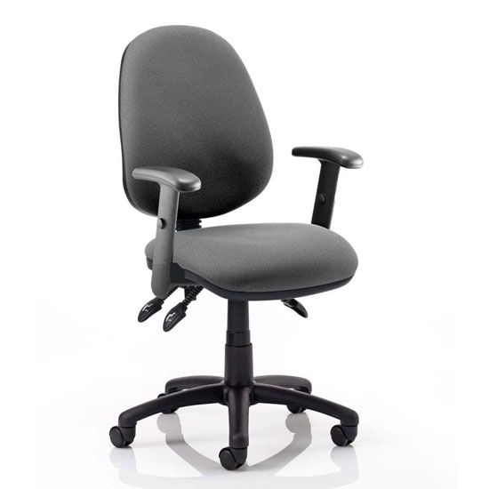 Luna III Office Chair In Charcoal With Adjustable Arms