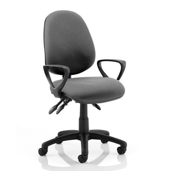 Luna III Office Chair In Charcoal With Loop Arms