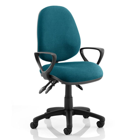 Luna III Office Chair In Maringa Teal With Loop Arms