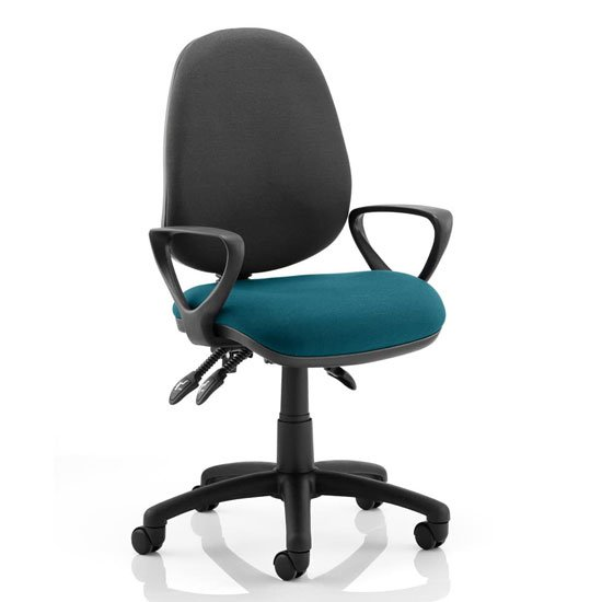 Luna III Office Chair With Maringa Teal Seat Loop Arms