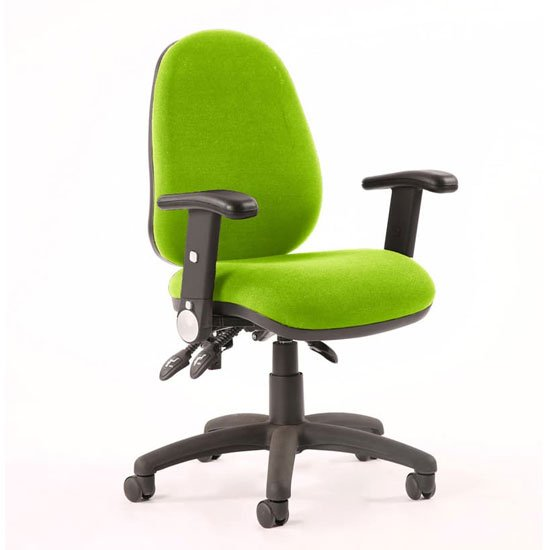 Luna III Office Chair In Myrrh Green With Adjustable Arms