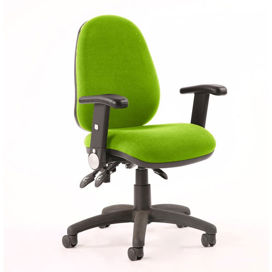 Luna III Office Chair In Myrrh Green With Folding Arms