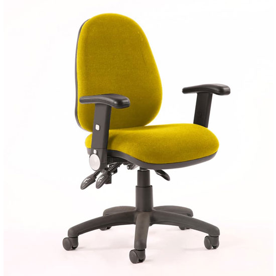 Luna III Office Chair In Senna Yellow With Adjustable Arms