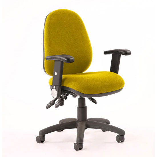 Luna III Office Chair In Senna Yellow With Folding Arms