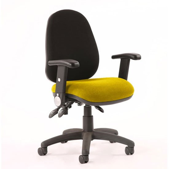 Luna III Office Chair With Senna Yellow Seat Folding Arms