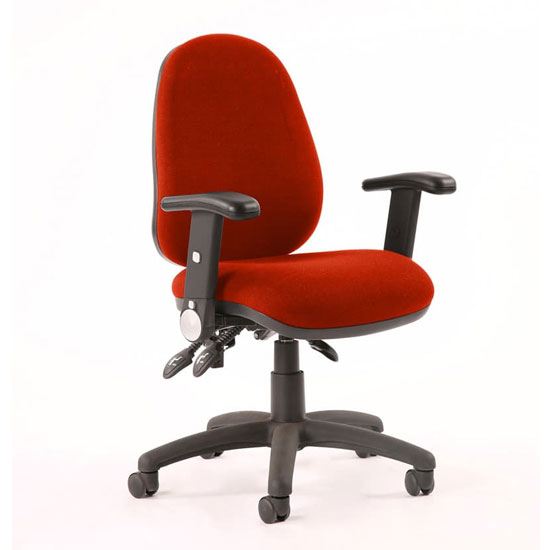 Luna III Office Chair In Tabasco Red With Adjustable Arms