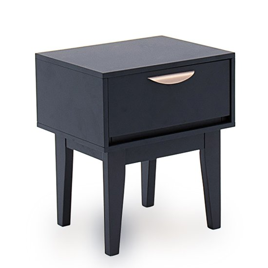 Luna Wooden Bedside Table In Blue With 1 Drawer