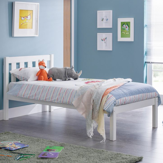 Luna Wooden Single Bed In Surf White