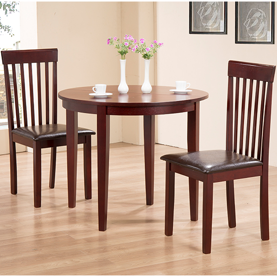 Lunar Wooden Dining Set In Mahogany With 2 Chairs