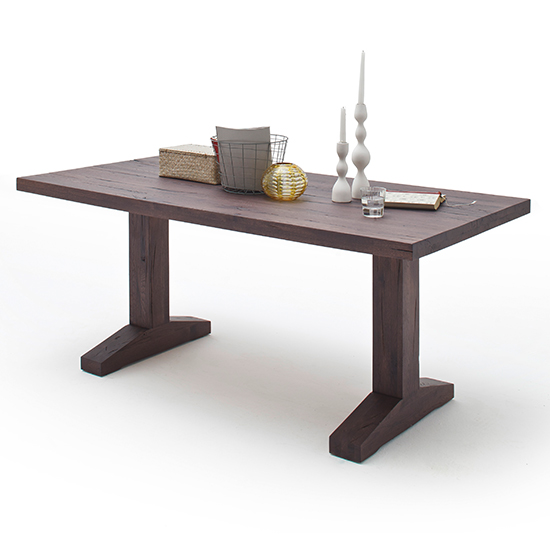 Product photograph showing Lunch Wooden Dining Table In Weathered Oak