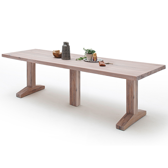 Lunch Extra Large Wooden Dining Table In Whitewashed Oak