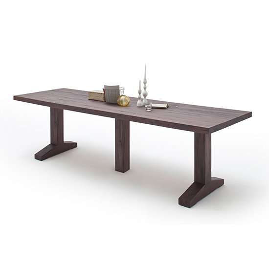 Lunch Large Wooden Dining Table In Weathered Oak