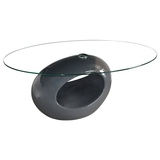 Lupi Clear Fibre Glass Coffee Table With Grey Base